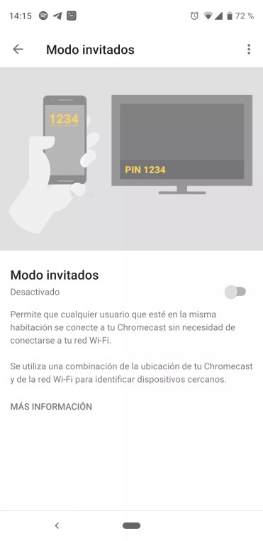 Modo Invitados en reproductor Chromecast