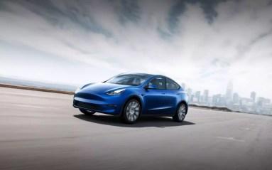 Diseño del Tesla Model Y color azul