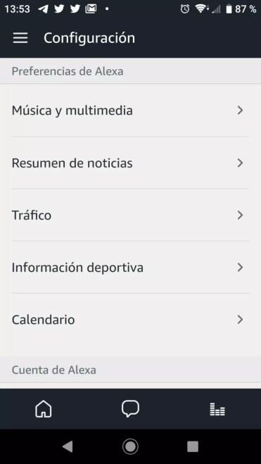 Ajustes de la aplicación Alexa