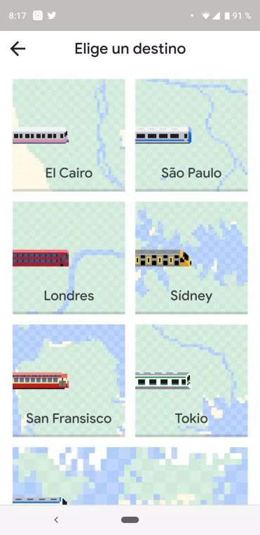 Ciudades incluidas en Snake en Google Maps