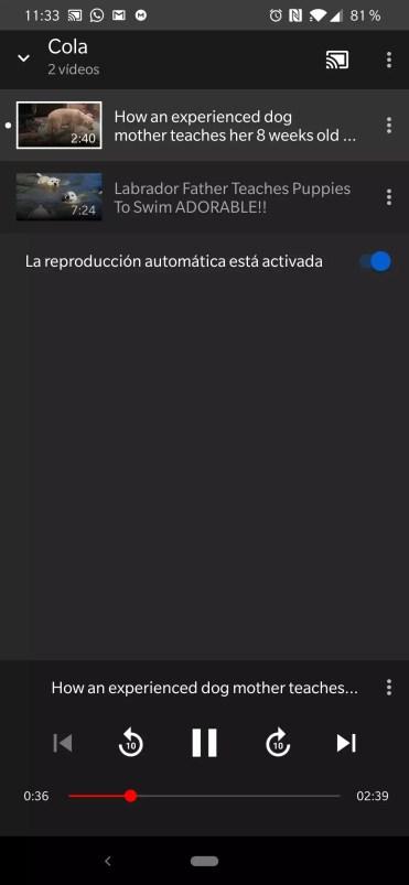 Cola de reproducción YouTube Google Chromecast