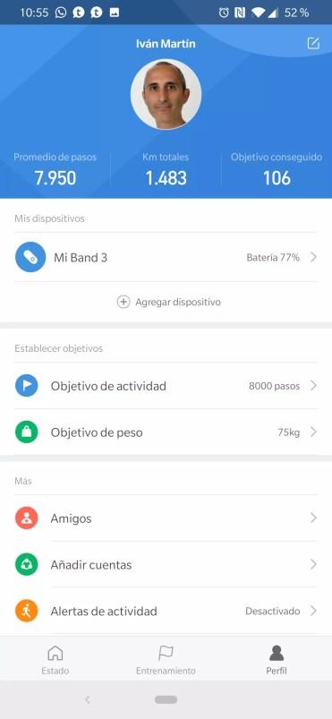 Perfil Xiaomi Mi Band 3