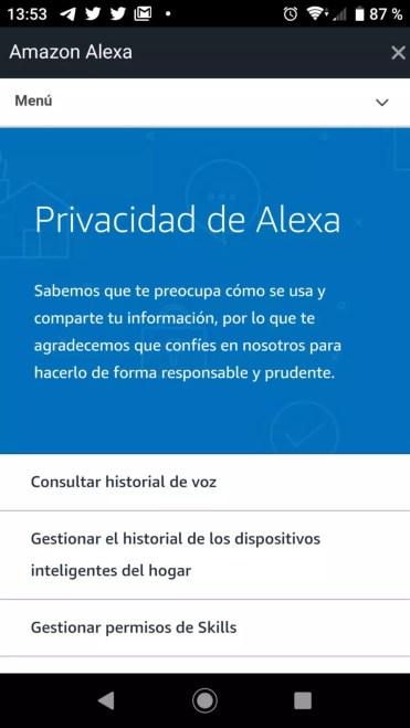 Apartado Privacidad de Alexa