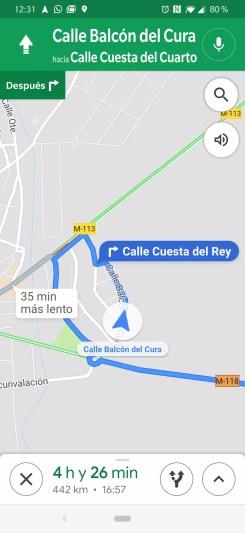 Ruta creada con Google Maps