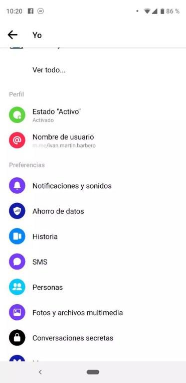 Ajustes de la aplicación Facebook Messenger