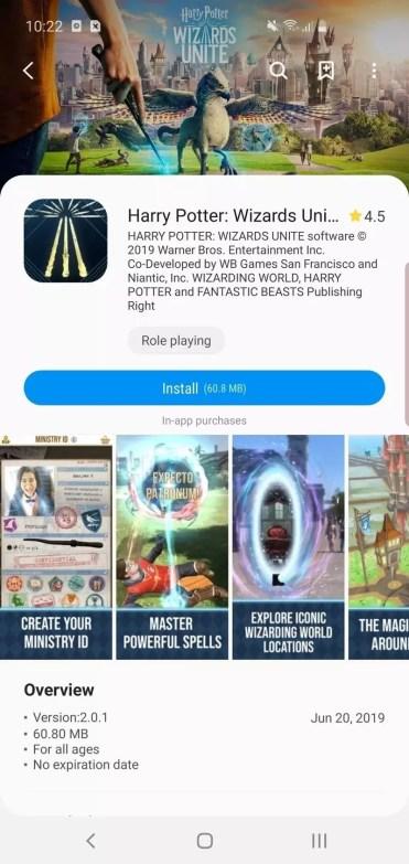 Página descarga Harry Potter: Wizards Unite en Galaxy Store