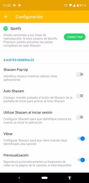 Imagen configuración de Shazam