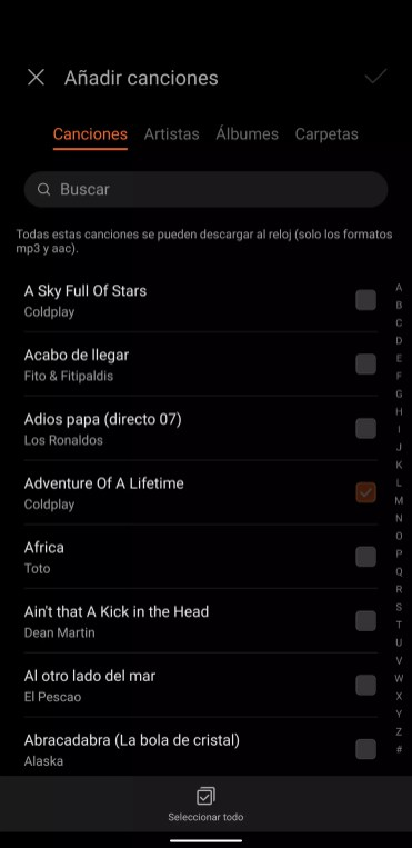 Seleccionar música en Huawei Watch GT 2
