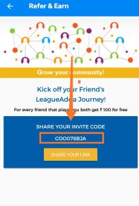 LeagueAdda Referral Code & Share And Earn Rs.50