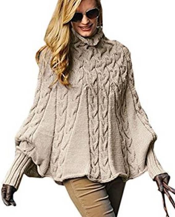 Mikos*Eleganter Damen Poncho Rollkragenpullover Damen Pullover Strickponcho Cape Zopfstickmuster Warm Herbst Pullover