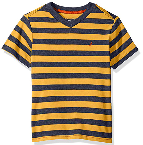 Nautica Boys' Short Sleeve V-Neck Stripe Tee Shirt