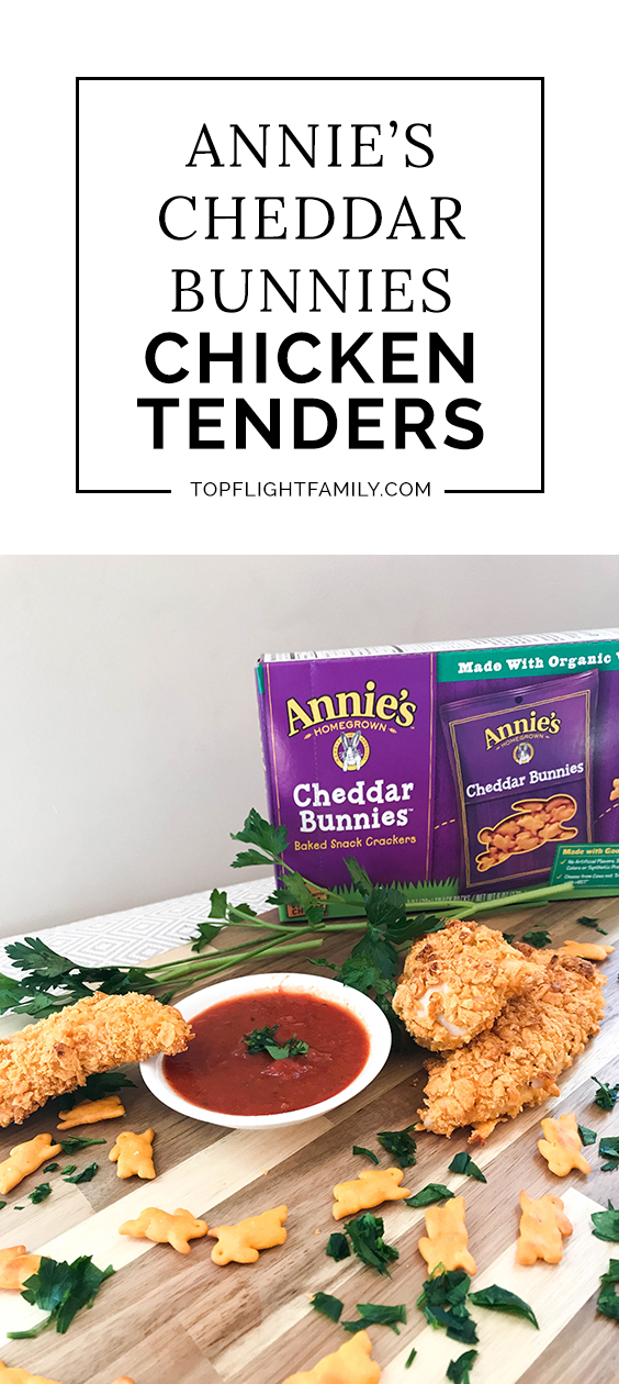 Do your kids love chicken tenders? Try making them at home with my recipe for baked chicken tenders crusted with crushed Annie's Cheddar Bunnies.