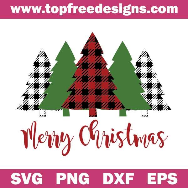 Free Merry Christmas Buffalo Plaid Trees