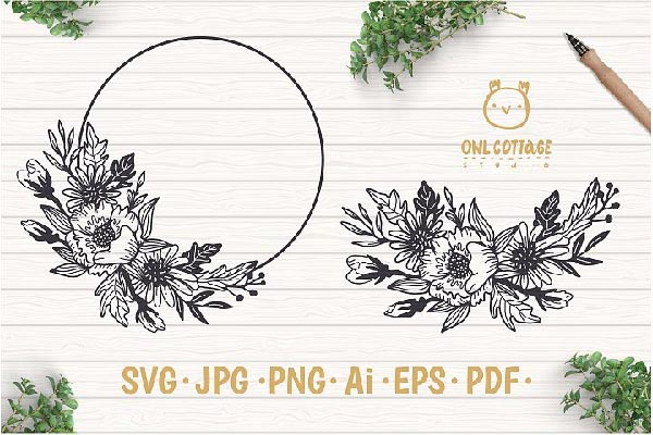 Free Flower Wreaeth SVG fil