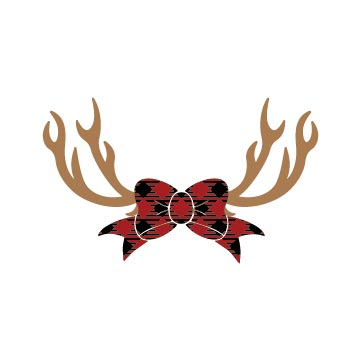 Free Christmas Reindeer Buffalo Plaid Bow svg for cricut silhouette cameo and other cutting machines