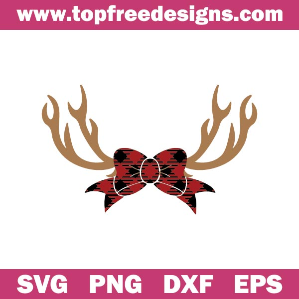 Free Reindeer Buffalo Plaid Bow SVG for cricut