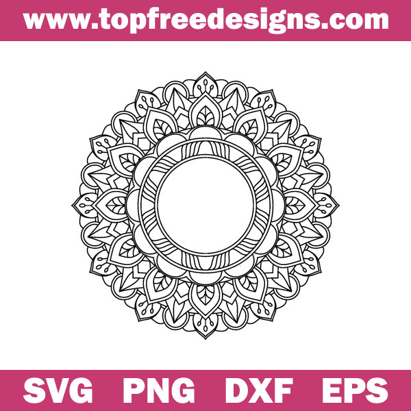 free mandala svg file for cricut machine, silhouette cameo and other cutting machines