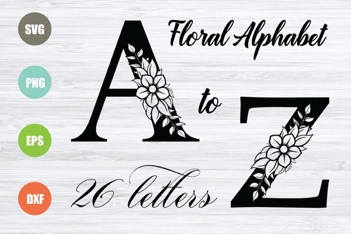 Floral Alphabet Svg Files