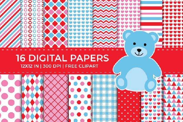 free Valentine Digital Papers