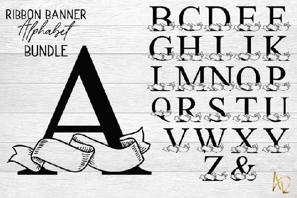 free Ribbon Banner Alphabet Bundle