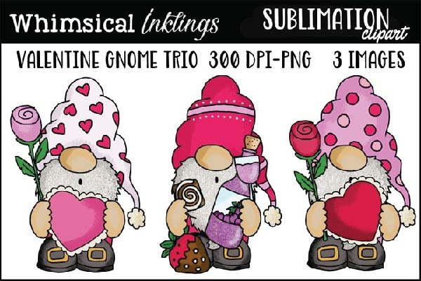 valentine gnomes free sublimation design