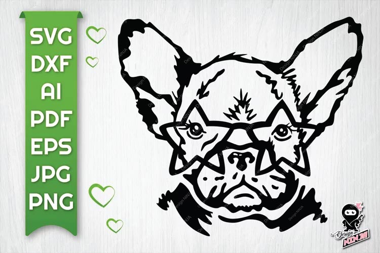 Dog with Star Glasses svg free