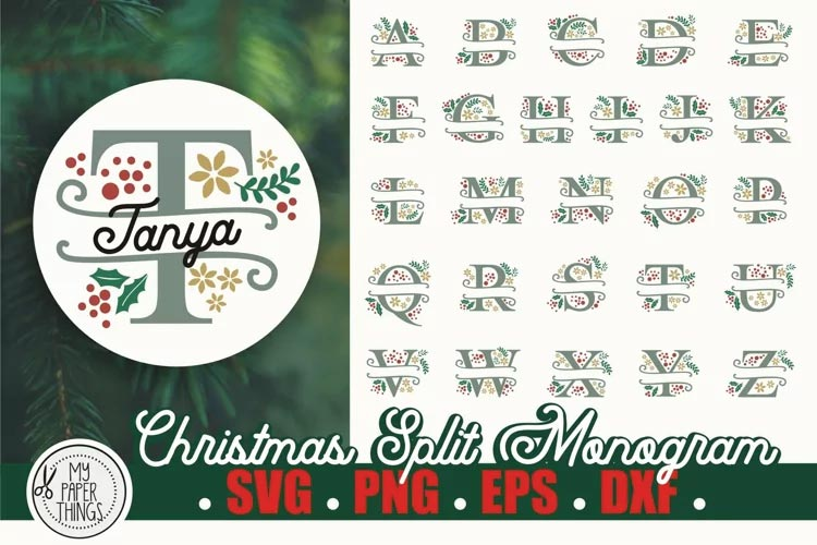 Christmas Split Monogram SVG Alphabet free
