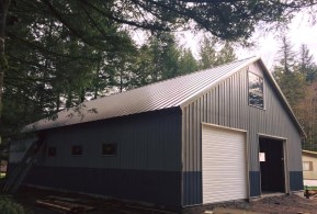 Residential Garage with a Metal Roof