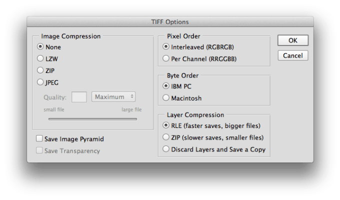 Photoshop CC (2014) TiFF Options Menu