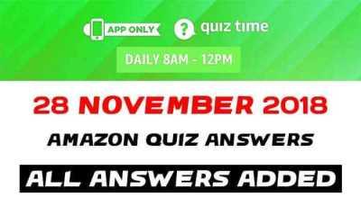 Amazon Quiz 28 November 2018 Answers