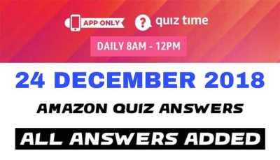 Amazon Quiz 24 DECEMBER 2018