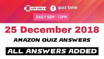 Amazon quiz 25 december 2018