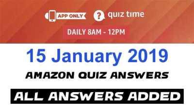 Amazon Quiz 15 January 2019