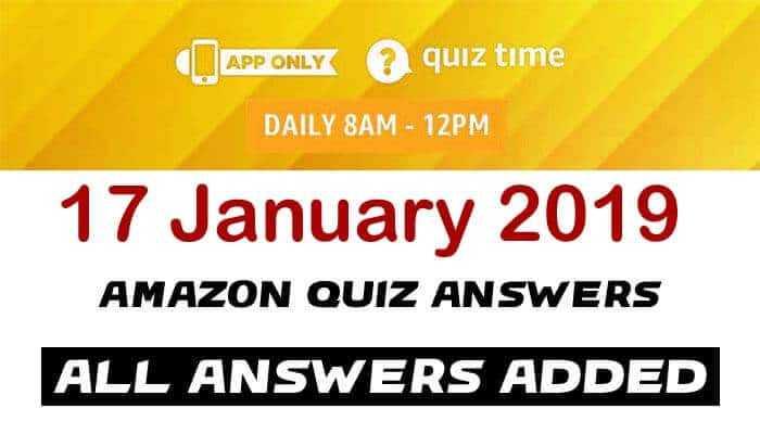 Amazon Quiz 17 January 2019 Answers - Saregama Carvaan