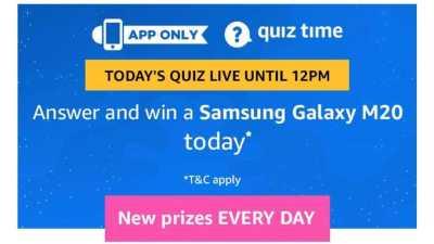 Amazon Quiz 13 March 2019 Answers Today -Samsung Galaxy M20