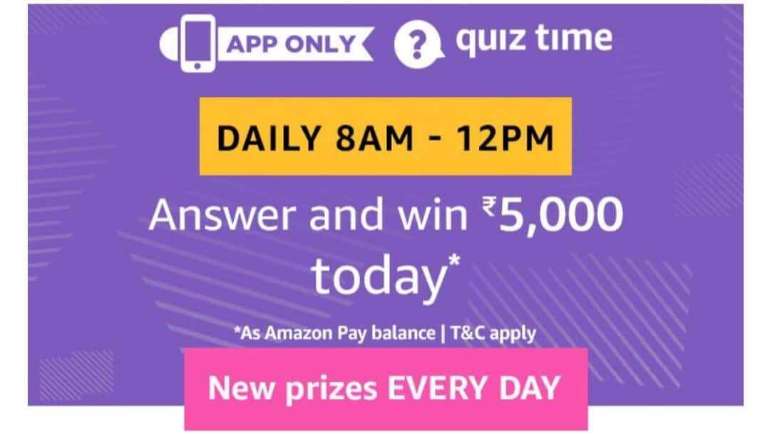 Amazon Quiz 13 May 2019, Amazon quiz answers today,