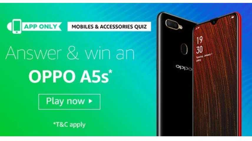Amazon Mobile & Accessories Quiz Answers Today - Win Oppo A5s