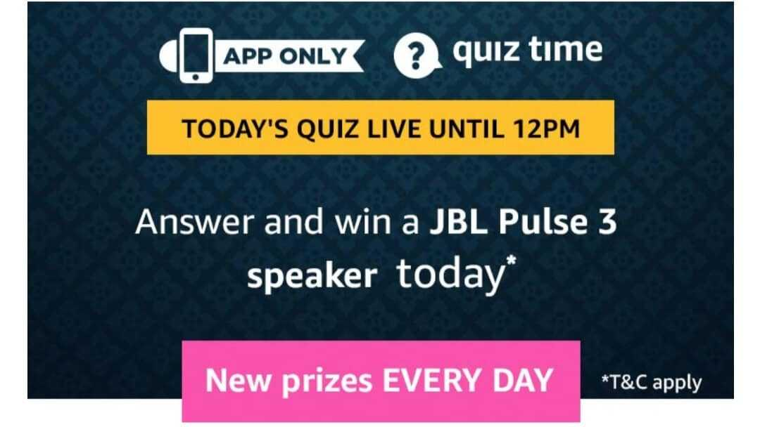 Amazon Quiz 31 May 2019 Answers - JBL Pulse 3 Speaker
