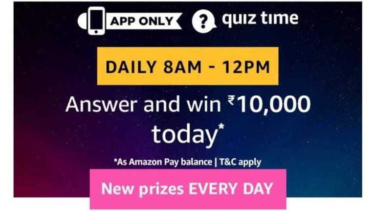 Amazon Quiz 2 january 2020 Answers - Win ₹10000 Pay Balance