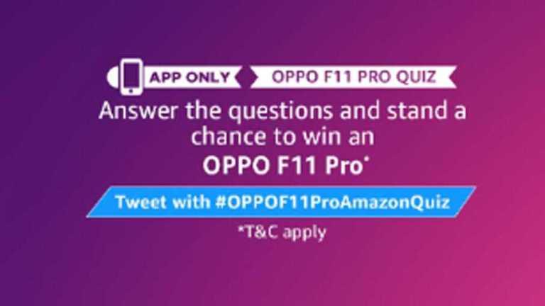 Amazon OPPO Quiz Answers - Win OPPO F11 Pro
