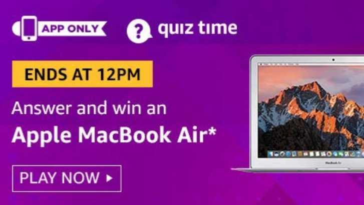 Amazon Quiz 30 August 2019 Answers Win - Apple Macbook Air