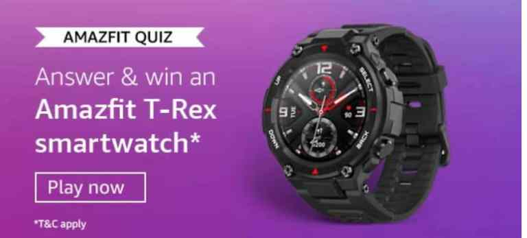 Amazon Amazfit Quiz Answers Win - Amazfit T-Rex Smartwatch