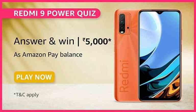 Amazon Redmi 9 Power Quiz Answers Win ₹5000