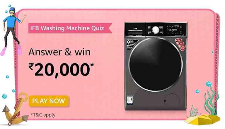 Amazon IFB Washing Machine Quiz Answers For Today Win ₹20000