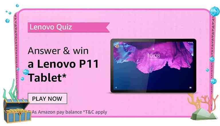 Amazon Lenovo Tablets Quiz Answers For Today Win Lenovo Tab P11