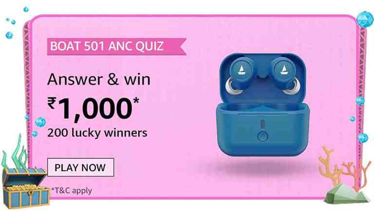 Amazon boAt 501 ANC Quiz Answers For Today Win 10000