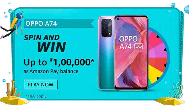 Amazon OPPO A74 Spin and Win Quiz Answers Win 1 Lakh
