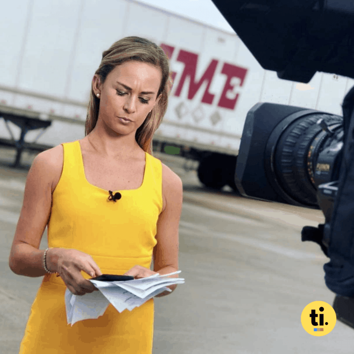 Emma Hogg during one of her live TV News reports at KWQC in Davenport, Iowa