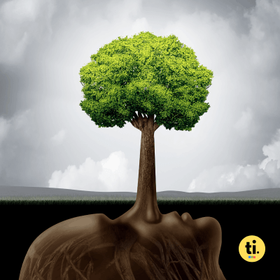 A green tree growing out of a liar's nose, greenwashing