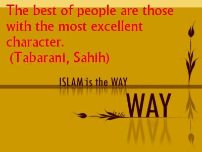 islamic picture with quote about good character